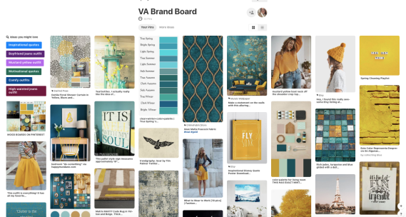 A copy of my Pinterest Brand Board that helped me create all the elements of my Brand Identity and Style Guide.