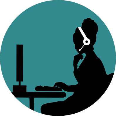 Outline of a Virtual Assistant wearing a headset and working on a computer presumably taking customer support calls to help grow a small business