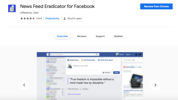 The Facebook News Feed Eradicator Chrome Extension is where all of distracting posts go to die